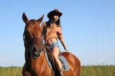 The girl rider — Stock Photo