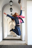 Girl jumping for joy — Stock Photo