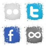vektor ange ikoner knapp facebook, twitter, flickr, 500px — Stockvektor