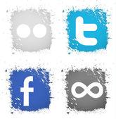 Vector instellen pictogrammen knop facebook, twitter, flickr, 500px — Stockvector