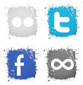 Vector set icons button facebook, twitter, flickr, 500px — 图库矢量图片