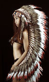 Native american, Indians in traditional dress, standing in profile, American indian Girl, — Stock Photo