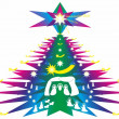 Christmas tree - illustration abstraction and wish Latin - Stockfoto