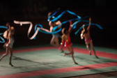 Unfocused rhythmic gymnastics — Stock Photo