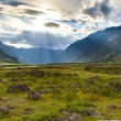 Evening sun over Altai mountains — Stock Photo