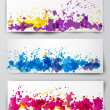 Banners with violet, blue and red splashes. — Stock Vector
