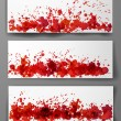 Banners with red splashes. — Stock Vector