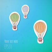 Vintage balloons in blue sky. — Stock Vector