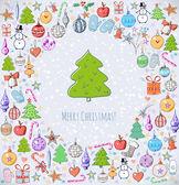 Christmas card with christmas tree. — Stock Vector
