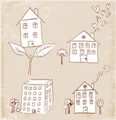Houses in vintage style. — Stock Vector