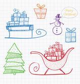Christmas doodle sketch — Stok Vektör