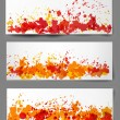Set of three bright abstract paper-cut backgrounds in autumn colors.  — Stock Vector