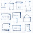 Set of hand-drawn sketch frames on squared paper.  — Stock Vector