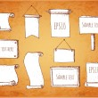 Set of sketch frames hand-drawn in vintage style. — Imagen vectorial
