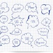 Set of hand-drawn ink speech and thought bubbles — Image vectorielle