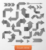 Set of black origami arrows — Stock Vector