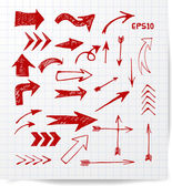 Red pen sketch arrow collection — Stock Vector