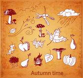 Esboços de símbolos Outono bonitos — Vetor de Stock