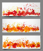Set of three bright abstract paper-cut backgrounds in autumn colors. — ストックベクタ