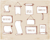 Set of sketch frames hand-drawn in vintage style. — Stock Vector