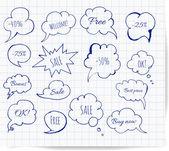 Hand-drawn speech bubbles — Stock Vector