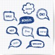 Hand-drawn speech and thought bubbles with realistic transparent shadow. — Stock Vector