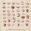 Big collection of vintage crowns. — 图库矢量图片