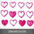 Set of pink grunge hearts.  — Stock Vector