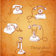 Stock Vector: Sketches of vintage phones