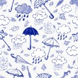 Rain, clouds and umbrellas. — Stock Vector #35661573