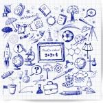 Back to school big doodles set. — Stock Vector
