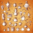 Vintage tea party objects.  — Stock Vector