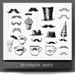 Stock Vector: Moustache party objects