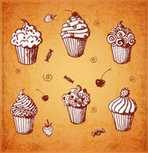 Sketches of cute cupcakes — Stock Vector