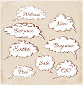 Hand-drawn speech and thought bubbles — Stock Vector