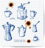 Set of pen sketch coffee elements. — Stock Vector