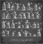 Collection of vintage coffee mills — Wektor stockowy