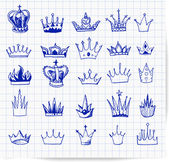 Pen sketches of vintage crowns. — Cтоковый вектор