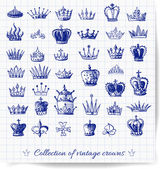 Sketches of vintage crowns — Vettoriale Stock