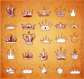 Sketches of crowns in vintage style. — Wektor stockowy