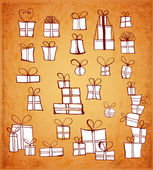 Vintage Sketch gift boxes collection. — Stock Vector