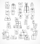 Sketch gift boxes collection. — Stock Vector