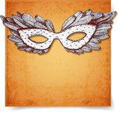 Vintage card with festive venetian mask. — Stock Vector