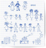 Sketches of home and family. — Stock Vector
