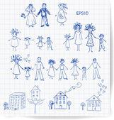 Bocetos de hogar y la familia. — Vector de stock