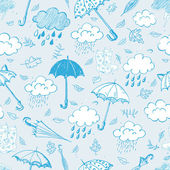 Rain, clouds and umbrellas. — Stock Vector