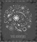 Card with sketchy space objects — Stock Vector