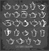 Sketch teapots collection . — Vetorial Stock