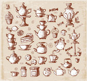 Sketches of tea objects — Vetorial Stock