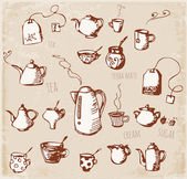 Sketches of tea objects — Stock Vector